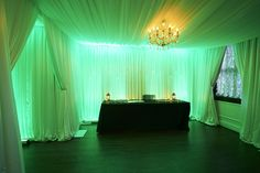 Yes, we wrap entire rooms in fabric vintage Swarovski crystals. Wizard of Oz wedding at Stan Mansion