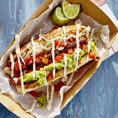 "A completo is a very popular Chilean signature on the concept of a ""loaded"" hot dog. Served by street vendors and other casual restaurants, this dish Summer Grilling Recipes, Summer Recipes, Hot Dogs, Sauce Recipes, Cooking Recipes, Cooking Tips, Best Avocado Recipes, Chilean Recipes, Chilean Food"
