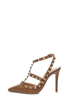 Valentino Rockstud Leather Slingbacks T.100 in Deep Cuir | FWRD [1]