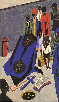 The Art of Jacob Lawrence - Evening Evangelists Sing and Preach on Street corners Jacob Lawrence, 1943. Gouache on paper,