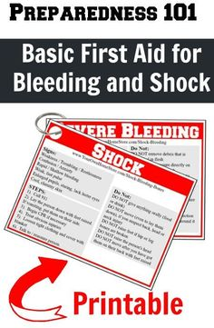 Printable first aid reminder cards for treating shock and bleeding.