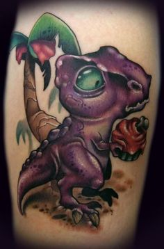 generally dinos shunned cupcake due in part to the fact that their tiny little arms were unable to remove the paper cup from the bottom of the cupcake Kelly Doty Bild Tattoos, Love Tattoos, Picture Tattoos, Body Art Tattoos, New Tattoos, Group Tattoos, Beach Tattoos, Crazy Tattoos, Tatoos