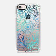 iPhone 7 Case Mandala Aqua + Teal Transparent