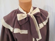 COCOA and CREAM vintage silk blouse by Charles Julian - $35 at JOHNNY BOMBSHELL #vintage #ruffle #pierrot #disco