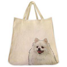 White Pomeranian Dog Tote Bag