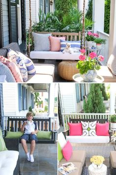 Tired of a basic porch swing? Try these 3 easy ideas to makeover your porch swing. Paint it, upholster the seat, and wrap the swing chain in rope.   Porch Daydreamer