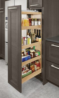 Tall Pantry Pull-Out - KraftMaid - house - Pull Out Kitchen Cabinet, Pull Out Pantry, Kitchen Pantry Design, Rustic Kitchen Cabinets, Kitchen Pulls, Home Decor Kitchen, Tall Pantry Cabinet, Pull Out Kitchen Storage, Kitchen Corner