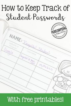 A Quick and Easy Way to Keep Track of Student Usernames & Passwords. Includes printable student password tracking pages. Learning Apps, Student Learning, Teaching Tools, Kindergarten Learning, Teaching Ideas, Student Data, Teacher Blogs, Teacher Hacks, Elementary Teacher