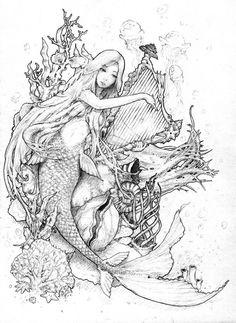Morceau De La Mer By Amdhuscias On Deviantart Mermaid Coloring Pages Mermaid Coloring Mermaid Drawings