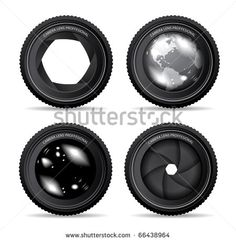Vector illustration of camera lens - stock vector