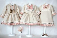 El armario de Inés. Girl dress. Camel. Pink