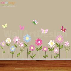 Vinyl Wall Decal Stickers Daisy Flowers Butterflies on Etsy, $75.00