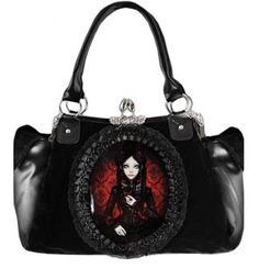 Attitude Clothing - Alternative, Gothic, Punk, Rock Clothing, Shoes, Brands + Accessories - Lace Frame Red Doll Handbag