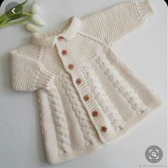 Knitted Coat jacket Vanilla – shop online on Livemaster with shipping – Baby knitting patterns Shrug Knitting Pattern, Baby Knitting Patterns, Knitting Designs, Knitted Baby Cardigan, Knitted Coat, Crochet Dress Girl, Crochet Baby, Baby Sweaters, Girls Sweaters