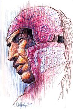 Hombre andino / Rayado a / Lápiz y Pinturas de colores / 2012 (Percy Ochoa)