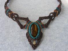 Gargantilla macrame, Handmade macrame necklace, Macrame collier.