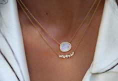 "14kt gold free form moonstone and diamond necklace on adjustable 16''-18'' chain *total moonstone weight: 2.2ct *total diamond weight: .10ct ** ""It is said if you give your lover a moonstone necklace"