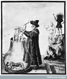 Miniature from a 16th century manuscript on Alchemy at Dresden.  Miniature16th century