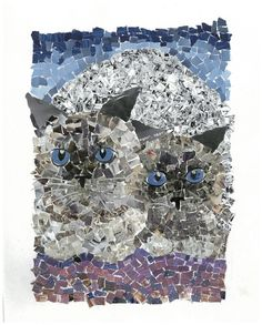 Gemini Cats Torn Paper Collage Art Print by AngelsandAnimals, $20.00
