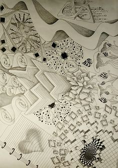 Zentangle pencil art drawing