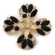 Vintage Black Jewelled Clear Crystal 'Cross' Brooch In Gold Plating – 6.5cm Length | Your #1 Source for Jewelry and Accessories