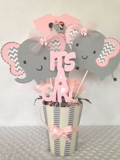 PINK AND GRAY ELEPHANT BABY GIRL SHOWER CENTERPIECE