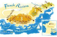 Robert Littleford - French riviera Map for CN Traveller