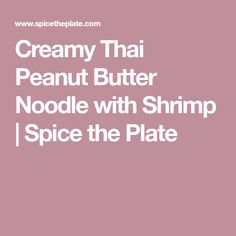 Creamy Thai Peanut Butter Noodle with Shrimp | Spice the Plate