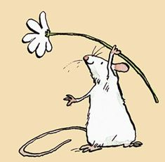 """Mouse and Daisy Peach Mini Card. Two Bad Mice have wide range of Greeting cards for pet mice and rat admirers. Anita Jeram illustrated """"Guess How Much I Love You"""" Animal Drawings, Cute Drawings, Cartoon Drawings, Maus Illustration, Cute Rats, Cute Mouse, Pet Mice, Animal Design, Rock Art"""