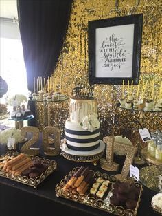 Dessert Table - Graduation Party - Travel Theme - Black, White and Gold
