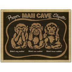 Man Cave Three Wise Monkeys Metal Sign Home Bar Decor 16 x 12 ** Check this awesome product by going to the link at the image.