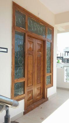New wooden glass door design woods Ideas Main Entrance Door Design, Wooden Main Door Design, Double Door Design, Front Door Entrance, Entry Doors, Home Door Design, Door Gate Design, Door Design Interior, Wooden Glass Door