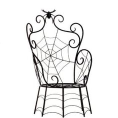 Halloween Large Black Spider & Spider Web Chair, 27 Inches Tall Decoration