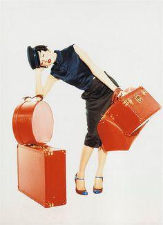 Red luggage! Devon Aoki / Ellen Von Unwerth