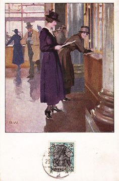 """Post Office Berlin. Two women at a post office window, by Brynolf """"Bruno"""" Wennerberg (1866-1950), a Swedish-born painter and illustrator. In 1898, he settled in Munich and worked at the magazines Lustige Blätter, Meggendorfer Blätter and Simplicissimus.This postcard was mailed in Berlin in 1922."""