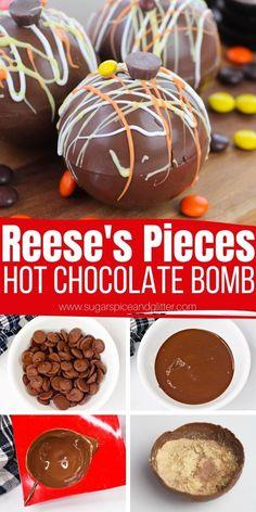 Peanut Butter Hot Chocolate Recipe, Hot Chocolate Gifts, Christmas Hot Chocolate, Hot Cocoa Recipe, Cocoa Recipes, Chocolate Bomb, Hot Chocolate Bars, Hot Chocolate Recipes, Chocolate Flavors