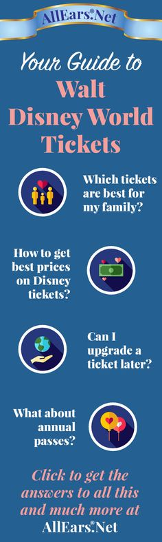 Your Guide to Walt Disney World Tickets | AllEars.net | AllEars.net Walt Disney World Tickets, Disney World Florida, Disney World Trip, Disney Parks, Disney World Resorts, Disney Vacations, Disney Travel, Family Vacations, Family Travel