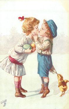 jongen en meisje kus, meisje met twee gekleurde eieren, kuiken trekt aan zijn kleren