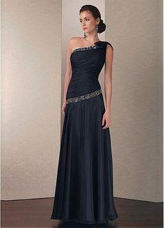 Junoesque A-line One Shoulder Neckline Full Length Chiffon Dress With Beading & Rhinestones Decoration