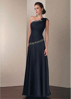 Stylish Chiffon A-line One Shoulder Neckline Full Length Black ...