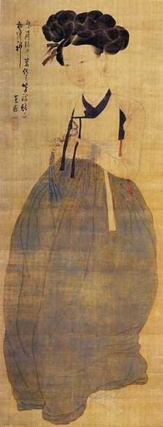Miindo, Portrait of a Beauty by Korean Artist Shin Yun-bok painting on silk. Depicts the standard of traditional beauty in the Joseon Dynasty Korean Painting, Japanese Painting, Chinese Painting, Japanese Art, Korean Traditional, Traditional Art, Art Asiatique, China Art, Traditional Paintings
