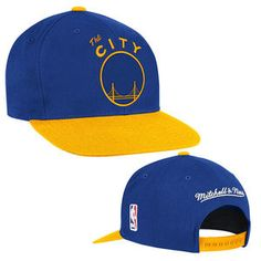 new style 5ef0a 24c8d Golden State Warriors Mitchell   Ness The City XL Logo 2-Tone Snapback Hat  - Royal Gold