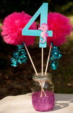 Under the Sea Party Mermaid Party Centerpiece Table Decoration Aqua and Pink