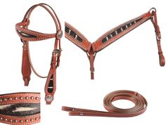 This beautiful tack set includes a matching headstall, reins, and breast collar which features an exotic pattern on the inserts and on the conchos as well. Each piece presents a medium brown finish and Chicago screws make it easy to change bits and attach the reins. The tack set comes in an easy to fit horse size with tons of room for adjustments to make it perfect for your horse. Model T0198. ONLY $89.99