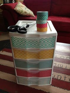 Washi Tape on plastic drawers.you could put the days of the week in front of washi tape for teachers! may need to do this for office supplies Dorm Room Organization, Craft Room Storage, Organization Hacks, Organizing Solutions, Storage Ideas, Storage Bins, Paper Storage, Diy Storage, Craft Rooms
