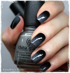 Grey black ombre Nails