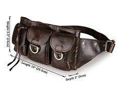 Tom Clovers Leather Waist Pack Belt Pouch Fanny Bag Hip Purse Brown