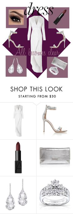 """""""""""The prettiest dresses are be worn to taken off"""" -Jean Cocteau"""" by hellobeautiful1920 ❤ liked on Polyvore featuring Galvan, Gianvito Rossi, NARS Cosmetics, Loeffler Randall, Plukka, Kobelli, dress, polyvorecontest and polyvorefashion"""