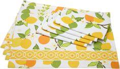 Amazon.com - Design Imports DII Citrus Blossom Placemats and Napkin Kitchen Linen Set in Citrus Print #AmazonCart #DII #DesignImports
