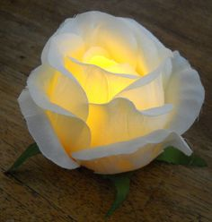 A great table decoration for weddings or a romantic dinner at home;) This is a very easy DIY tutorial on how to make this great flameless rose tea light! I got inspired by this tutorial from Smart … Flower Crafts, Diy Flowers, Paper Flowers, Wedding Flowers, Lighted Centerpieces, Quinceanera Centerpieces, Wedding Centerpieces, Fabric Roses, Light Crafts